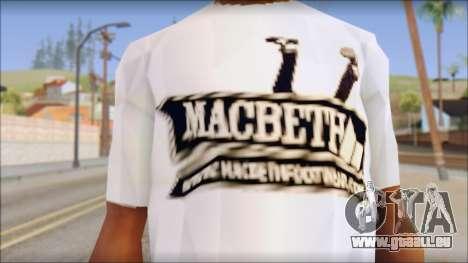 Macbeth T-Shirt pour GTA San Andreas troisième écran