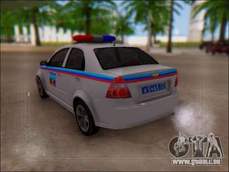 Chevrolet Aveo Police LNR pour GTA San Andreas vue de côté