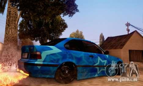 BMW M3 E36 Coupe Blue Star pour GTA San Andreas vue arrière