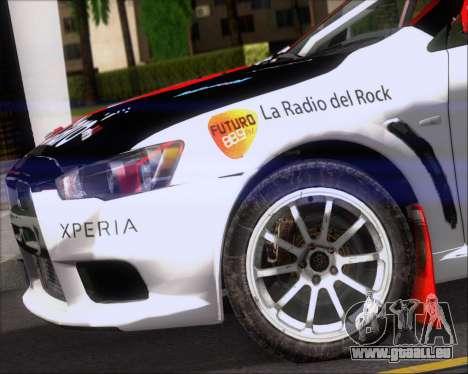 Mitsubushi Lancer Evolution Rally Team Claro pour GTA San Andreas vue de côté