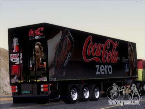 Remorque Chereau Coca-Cola Zero De Camion pour GTA San Andreas vue de droite