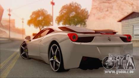 Ferrari 458 Italia für GTA San Andreas linke Ansicht