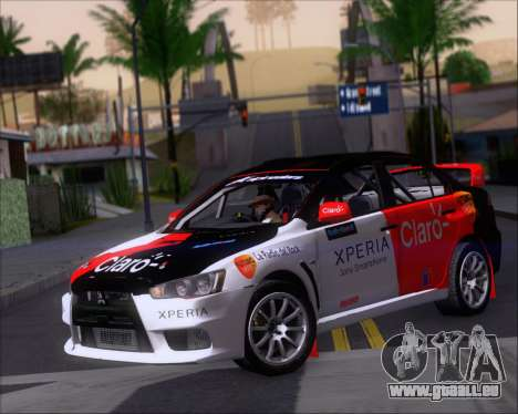 Mitsubushi Lancer Evolution Rally Team Claro für GTA San Andreas linke Ansicht