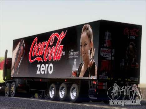 Remorque Chereau Coca-Cola Zero De Camion pour GTA San Andreas sur la vue arrière gauche