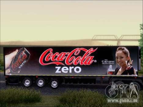 Remorque Chereau Coca-Cola Zero De Camion pour GTA San Andreas vue arrière