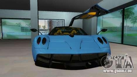 Pagani Huayra 2012 für GTA Vice City zurück linke Ansicht