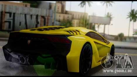 Pegassi Zentorno pour GTA San Andreas sur la vue arrière gauche