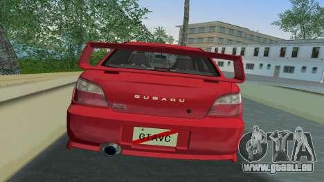 Subaru Impreza WRX 2002 Type 6 für GTA Vice City Rückansicht