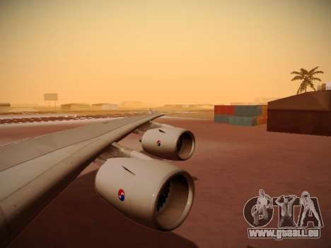 Airbus A380-800 Korean Air pour GTA San Andreas vue de dessous