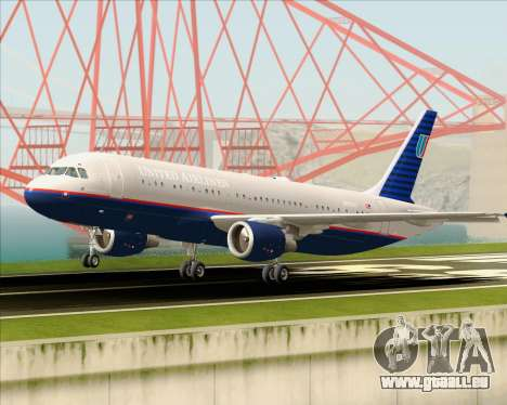 Airbus A320-232 United Airlines (Old Livery) pour GTA San Andreas vue de dessus