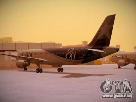 Airbus A320-214 LAN Airlines 80 Years für GTA San Andreas rechten Ansicht