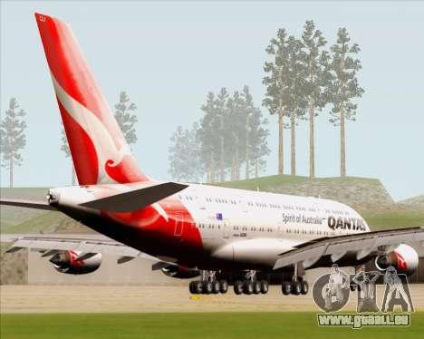 Airbus A380-841 Qantas pour GTA San Andreas sur la vue arrière gauche