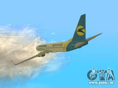 Boeing 737-84R Ukraine International Airlines für GTA San Andreas zurück linke Ansicht