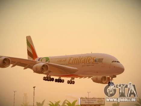 Airbus A380-800 Emirates Rugby World Cup für GTA San Andreas linke Ansicht