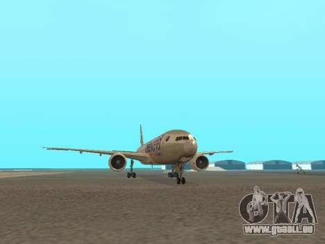 Boeing 777-223ER American Silver Bullet pour GTA San Andreas vue arrière