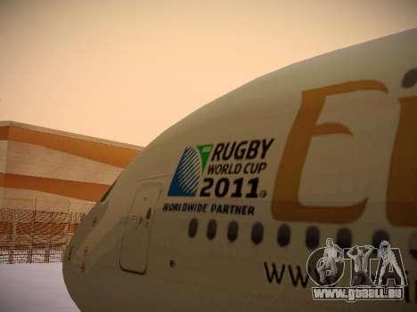 Airbus A380-800 Emirates Rugby World Cup für GTA San Andreas Seitenansicht