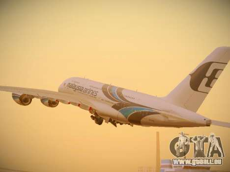 Airbus A380-800 Malaysia Airlines pour GTA San Andreas vue de droite