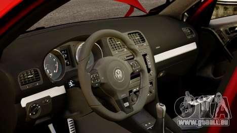 Volkswagen Golf R 2010 Racing Stripes Paintjob für GTA 4 Innenansicht