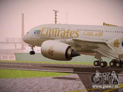 Airbus A380-800 Emirates Rugby World Cup für GTA San Andreas Rückansicht
