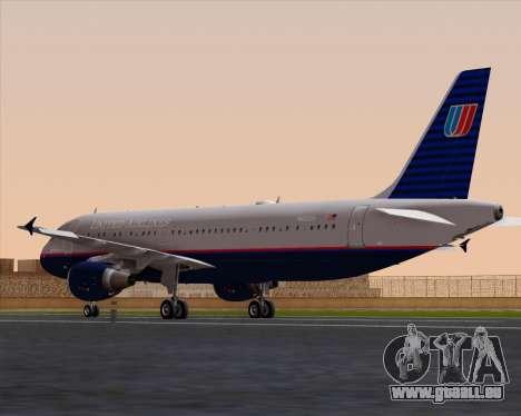 Airbus A320-232 United Airlines (Old Livery) für GTA San Andreas zurück linke Ansicht
