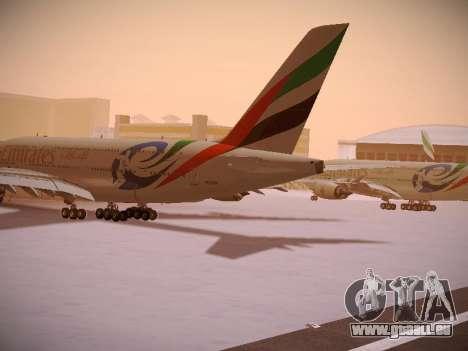 Airbus A380-800 Emirates Rugby World Cup für GTA San Andreas zurück linke Ansicht