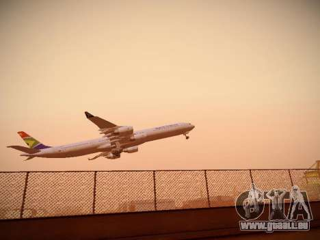 Airbus A340-600 South African Airways für GTA San Andreas zurück linke Ansicht