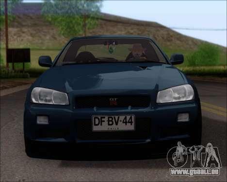 Nissan Skyline GT-R R34 V-Spec II für GTA San Andreas Unteransicht