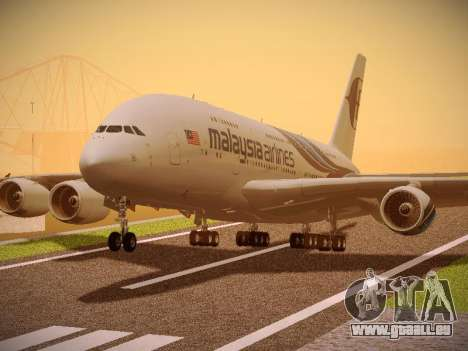 Airbus A380-800 Malaysia Airlines für GTA San Andreas zurück linke Ansicht
