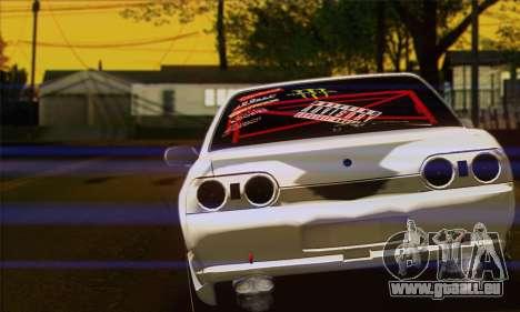 Nissan Skyline R32 Drift Monster Energy pour GTA San Andreas sur la vue arrière gauche