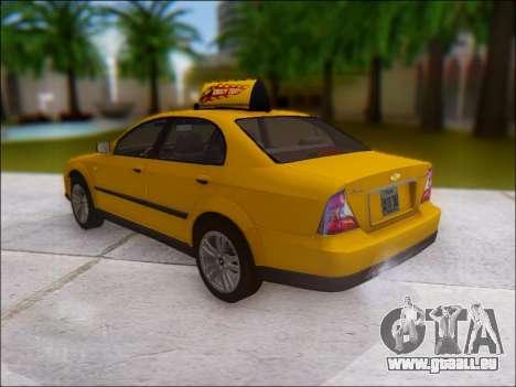 Chevrolet Evanda Taxi pour GTA San Andreas sur la vue arrière gauche