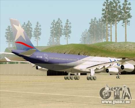 Airbus A340-313 LAN Airlines für GTA San Andreas zurück linke Ansicht