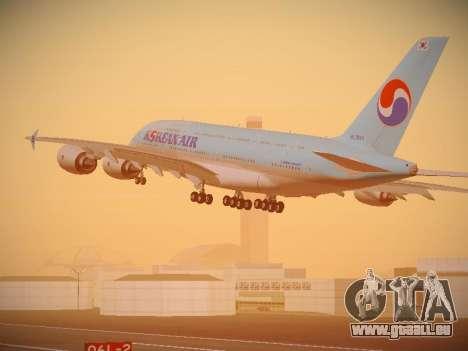 Airbus A380-800 Korean Air pour GTA San Andreas sur la vue arrière gauche