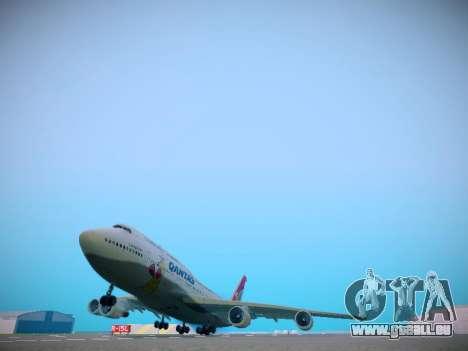 Boeing 747-438 Qantas Boxing Kangaroo pour GTA San Andreas sur la vue arrière gauche