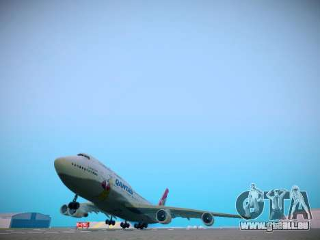 Boeing 747-438 Qantas Boxing Kangaroo für GTA San Andreas zurück linke Ansicht