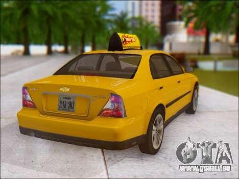 Chevrolet Evanda Taxi pour GTA San Andreas vue arrière