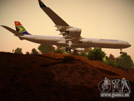 Airbus A340-600 South African Airways für GTA San Andreas Rückansicht