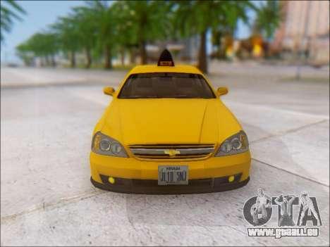 Chevrolet Evanda Taxi für GTA San Andreas obere Ansicht