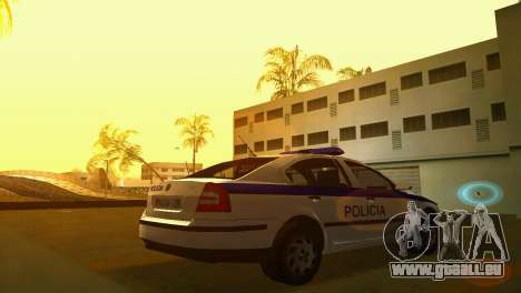 Skoda Octavia Albanian Police Car pour une vue GTA Vice City de la gauche