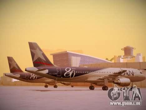 Airbus A320-214 LAN Airlines 80 Years für GTA San Andreas zurück linke Ansicht