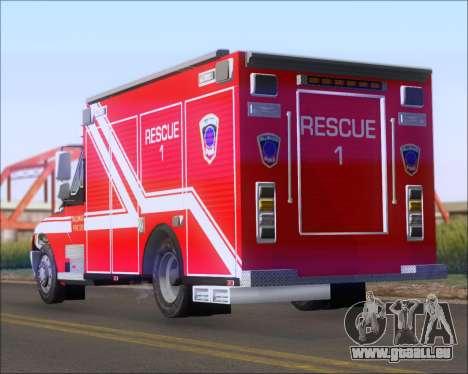 Pierce Commercial TFD Rescue 1 für GTA San Andreas zurück linke Ansicht