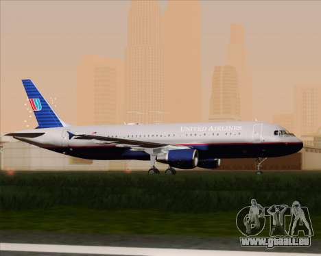 Airbus A320-232 United Airlines (Old Livery) pour GTA San Andreas vue arrière
