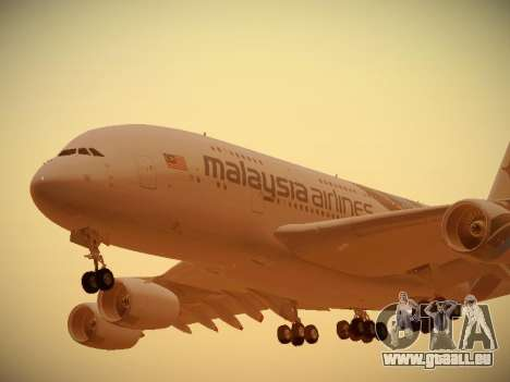 Airbus A380-800 Malaysia Airlines für GTA San Andreas linke Ansicht