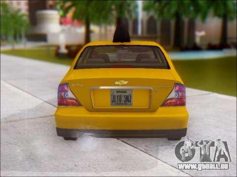 Chevrolet Evanda Taxi pour GTA San Andreas vue de droite
