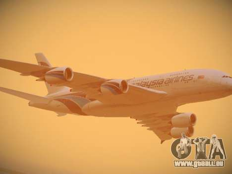 Airbus A380-800 Malaysia Airlines pour GTA San Andreas vue de dessus
