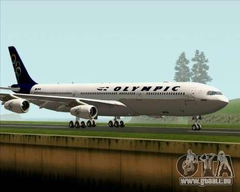 Airbus A340-313 Olympic Airlines für GTA San Andreas zurück linke Ansicht