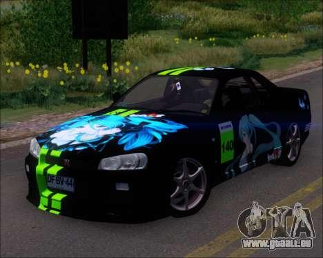Nissan Skyline GT-R R34 V-Spec II für GTA San Andreas Räder