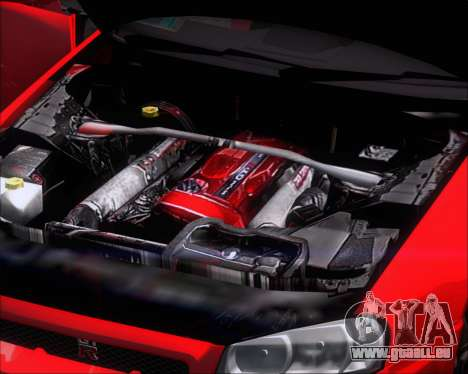 Nissan Skyline GT-R R34 V-Spec II für GTA San Andreas Innenansicht