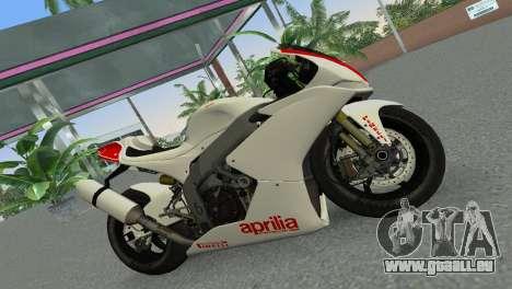 Aprilia RSV4 2009 Gray Edition pour une vue GTA Vice City de la gauche