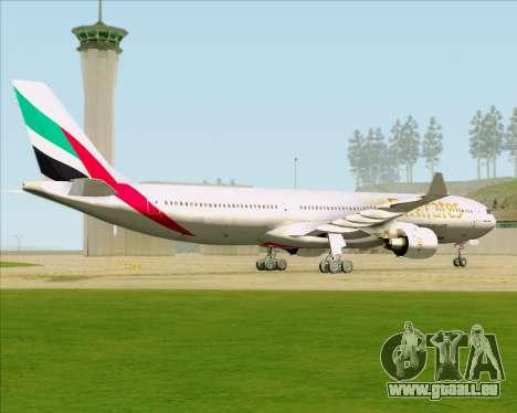 Airbus A330-300 Emirates für GTA San Andreas Rückansicht