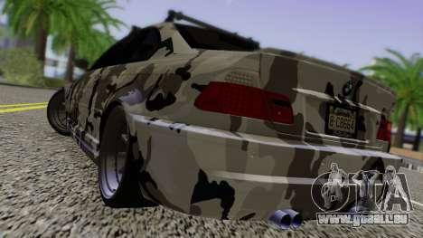 BMW M3 E46 Coupe 2005 Hellaflush v2.0 pour GTA San Andreas sur la vue arrière gauche